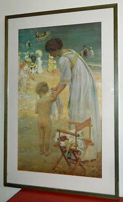 VINTAGE  On The Beach 1909 by Artist E Phillips Fox Australian Rare Art Print