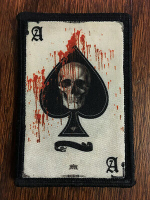 Ace of Spades Death Card Morale Patch Tactical ARMY Hook Military USA Badge Flag