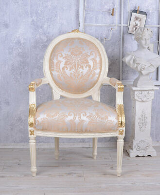vintage sessel barock weiss gold barockstuhl bergere. Black Bedroom Furniture Sets. Home Design Ideas