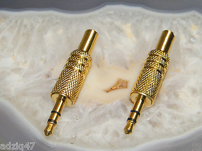 2 JACK 3,5 mm ORO DA SALDARE INTRA CASCHI/DAC/MP3 CAVO IPOD/AMPLIFICATORE