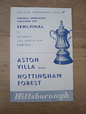 1959 Fa Cup Semi-Final : Aston Villa V Nottingham Forest @ Sheffield Wednesday