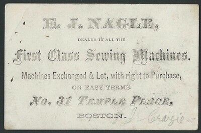 1860s Boston Sewing Machine Dealer & Rentals Business Card - E.J. Nagle