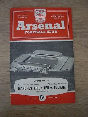 1957/58 Fa Cup Semi-Final Replay : Manchester United V Fulham @ Arsenal