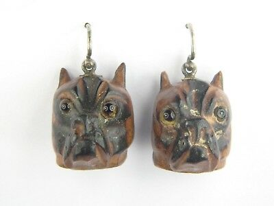 UNUSUAL ANTIQUE HAND CARVED WOODEN BULLDOG EARRINGS c1800's
