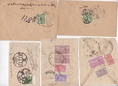 # 5 x NEPAL COVERS GOOD VARIETY OF STAMPS SOME 1929 PENCIL DATED  POSTAL HISTORY