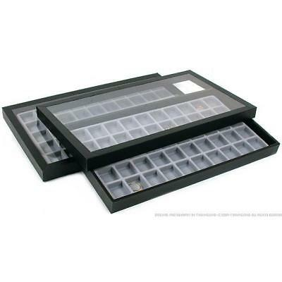 2-50 Compartment Gray Jewelry Display Acrylic Lid Case