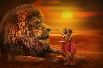 """perfect oil painting handpainted on canvas """"large lion and little girls""""N11039"""