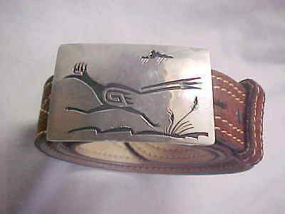 """Zuni Signed Silver """" Road Runner """" Shadow Style Buckle"""