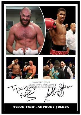 065.   Tyson Fury &  Anthony Joshua Boxing Signed Reproduction Print Size A4