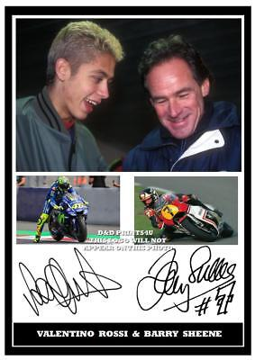 058.. Barry Sheene & Valentino Rossi Superbikes  Moto Gp Signed  Print Size A4