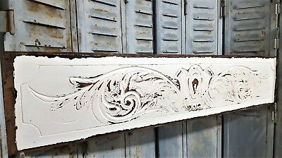 SHABBY ROMANTIC PAINTED HAND CARVED WOOD PEDIMENT ANTIQUE FRENCH CARVING 19th