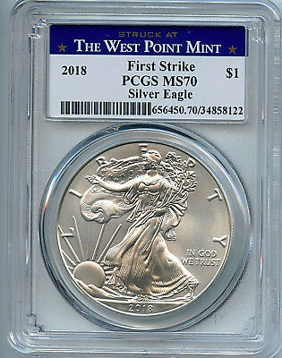 2018 W Silver Eagle Dollar PCGS MS70 Coin First Strike West Point Label ASE C53