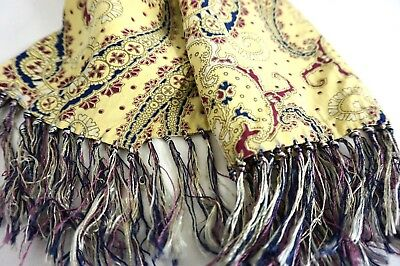 30s 40s Rayon Opera Scarf - Butter Yellow ~ Paisley Design w/ Multi-Color Fringe