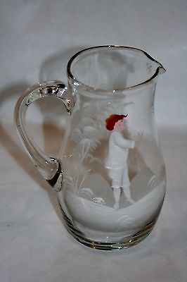 Antique Bohemia Glass Czech MARY GREGORY Enameled PITCHER HandBlown Color Face