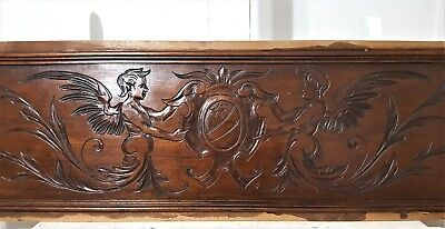 "ANGEL COAT OF ARMS 44"" HAND CARVED WOOD PEDIMENT ANTIQUE FRENCH PANELLING 19th"