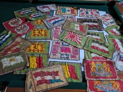 LOT OF 32 VINTAGE LARGE FLANNEL FELT TOBACCO FLAG FLAGS EARLY 1900's Quilt