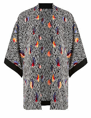 New M&S Maternity Black White Multi Abstract Print Kimono Top Jacket Sz UK 10
