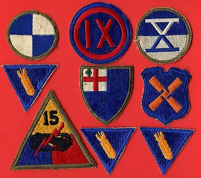 US Army 15th Div. Armature Specialist x3 &(4th 9th 10th 11th 12th) Corps Patches
