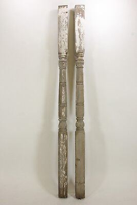 "2 Matching Antique Porch Posts Architectural Salvage Restoration 90"" Weathered"