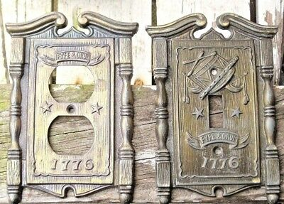 Lot of 2 Vintage 1968 1776 Fyfe Drum Brass Light Switch Outlet Wall Plate Covers