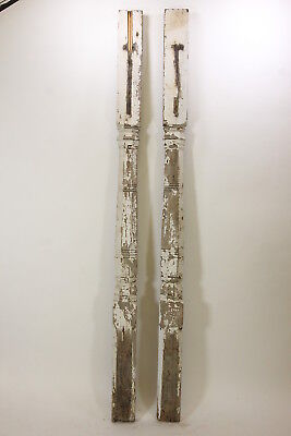 "2 Antique Porch Half-Posts 98 3/4"" Tall Architectural Salvage Restoration"