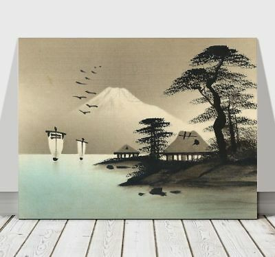 Japanese Houses, Ships, Mountain, Trees & Birds -CANVAS ART PRINT POSTER -12x8""
