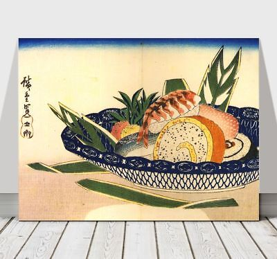 Japanese ANDO HIROSHIGE - Bowl of Sushi - CANVAS ART PRINT POSTER - 16x12""