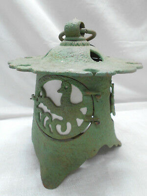 Vintage Japanese Cast Iron Metal Decorative Temple Lantern Light #9