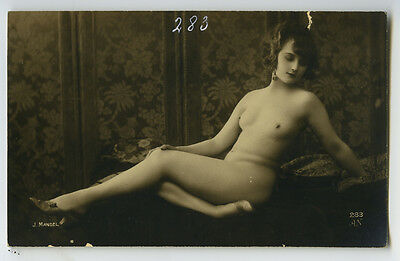 1920s French Nude FLAPPER BEAUTY risque deco photo postcard