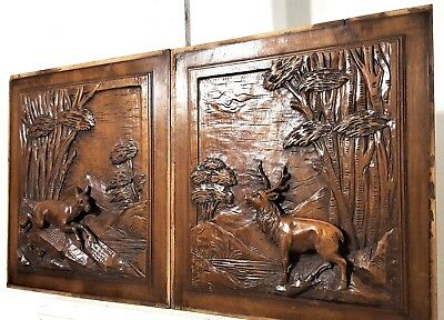 Pair Hand Carved Wood Panel Antique French  Hunting Scene Salvaged Panelling
