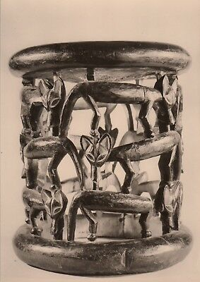 Post Card - African Art / Stool made of wood with animal friezes (Cameroon)