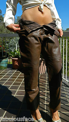 VINTAGE Rock Chic 1970s Original Boho Retro Leather Pants