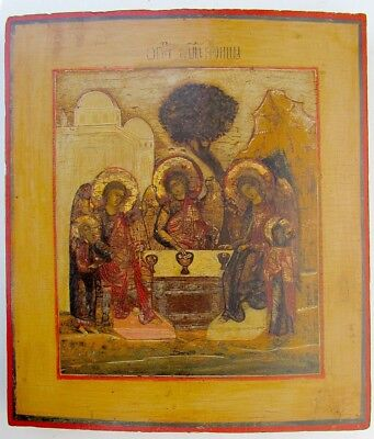 18 Cent. Large Antique Russian Icon Old Testament Trinity Hospitality Of Abraham