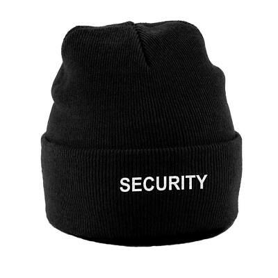 SECURITY SIA Embroidered Knitted Beanie Turn-Up Hat Doorman Bouncer Supervisor