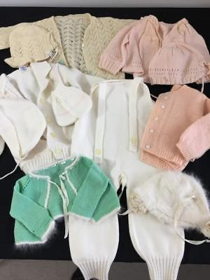 11 pieces vintage baby doll outfits sweater cap hat overalls 1950s