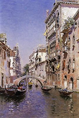 Martín Rico y Ortega The Sunny Canal Oil Painting repro