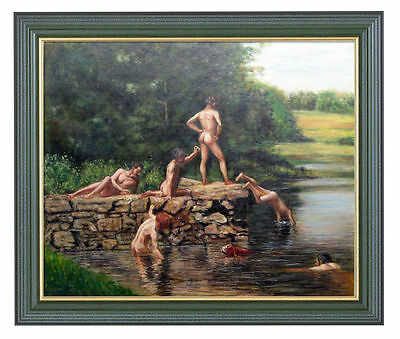 Handmade Oil Painting repro Thomas Cowperthwait Eakins The Swimming Hole