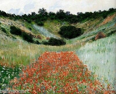 """Claude Monet Poppy Field In A Hollow Near Giverny Art Oil Painting repro 20""""x24"""""""