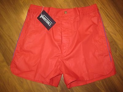 NEW Old Stock Vtg 70s Vanderbilt RED Striped Mens LARGE Tennis Track shorts NOS