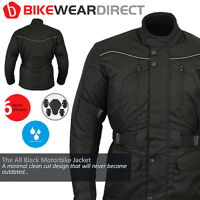 All Black Waterproof Motorcycle / Motorbike Jacket With CE Removable Armour