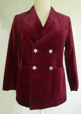 Pierre Cardin Blazer Trophy Jacket Vintage 60s Velvet Sexy Double Breasted Wine