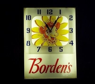 Old Vintage BORDEN'S DAIRY ADVERTISING CLOCK Electric WALL Works Well ELSIE COW