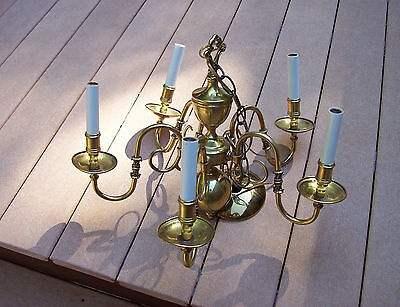 Vtg Super Elegant Custom? 5 Arm Brass Chandelier Hammered Details Light Fixture
