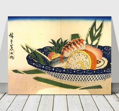 Japanese ANDO HIROSHIGE - Bowl of Sushi - CANVAS ART PRINT POSTER - 18x12""