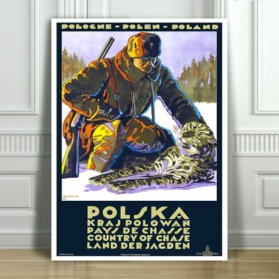 """VINTAGE TRAVEL CANVAS ART PRINT POSTER - Hunting in Poland -24x16"""""""