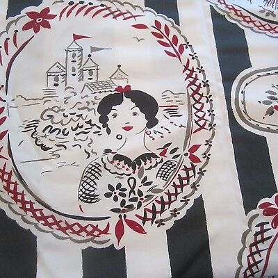 50CM X 74CM Vintage Cotton Fabric 1990s CECILIA BIRTWELL Red Grey Novelty Cameo