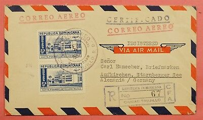 1954 Dominican Republic Registered Airmail Cover To Germany