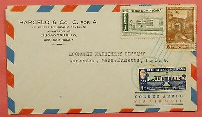 Dominican Republic 1950's Airmail Cover To Usa Trade War Back Information