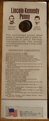 Lincoln-Kennedy 1 Cent Penny Coin New on Collector's Card