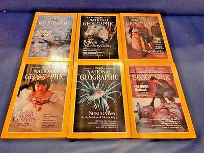 Lot 6 1990 National Geographic Magazine Issues Collection Vol 177, 178